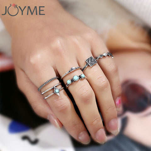 Vintage jewelry new design 6 pcs/ lot rings set antique silver turquoise - Bohemian Gift Stores