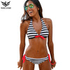 Image of NAKIAEOI 2016 Sexy Bikinis Women Swimsuit Swimwear Halter Top Plaid Brazillian Bikini Set Bathing Suit Summer Beach Wear Biquini