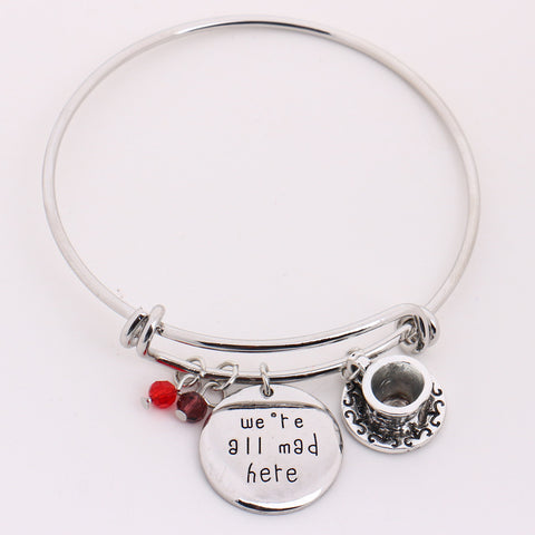 "Alice in Wonderland Bangle""we're all mad here""Hand Stamped Pendant Crystal,Cheshire Cat  Bangle Bracelet for Halloween Christmas - Bohemian Gift Stores"