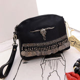Fringe Vintage Clutch Women Leather Handbags Designer Black Boho Hand Bag Small Tassel Stud Women Messenger Bags Luxury Purses - Bohemian Gift Stores