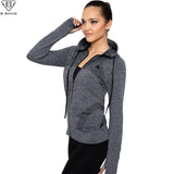 B.BANG 2016 New Women Sport Jacket Quick-dry Long-sleeved Running Gym Sweatshirt Cloth Fitness Zipper Jacket Outerwear chaquetas