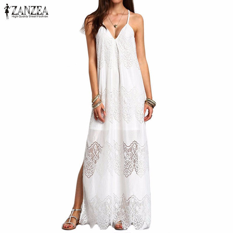 Long Maxi Dresses 2016 Women Boho Vestidos Summer Beach Wear Cream Deep V Neck Split Slip