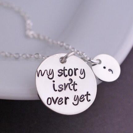 "2016 Best  Selling  Exquisite ""My story isn't over get"" Pendant Necklace Chains Necklace Fashion Jewerly For Women YP2159"