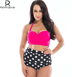2016 New Bikinis Women Plus Size Swimwear High Waist Swimsuit  Halter Top Bathing Suits Retro Vintage Dot Push Up Bikini Set 4XL