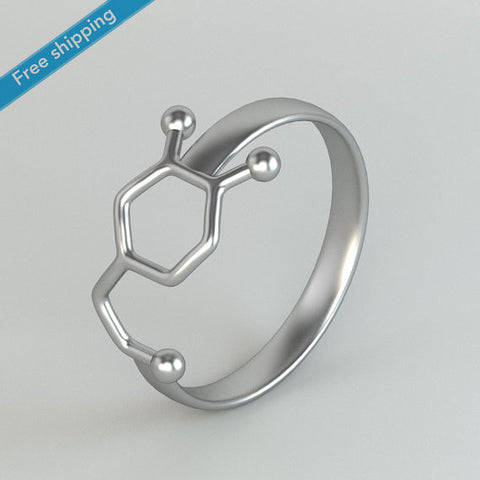 Dopamine Molecule Ring Chemistry Jewelry Neurotransmitter Science Jewelry Rings - Bohemian Gift Stores