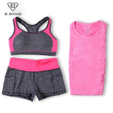 B.BANG Women Yoga Sets Running Sports Bra + T-Shirt +Shorts Set Fitness Gym Push Up Seamless Bras Tops Elastic Short Pants