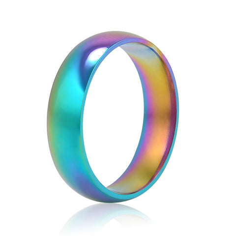 Men Women Rainbow Colorful Ring Titanium Steel Wedding Band Ring Width 6mm Size 6-10 - Bohemian Gift Stores