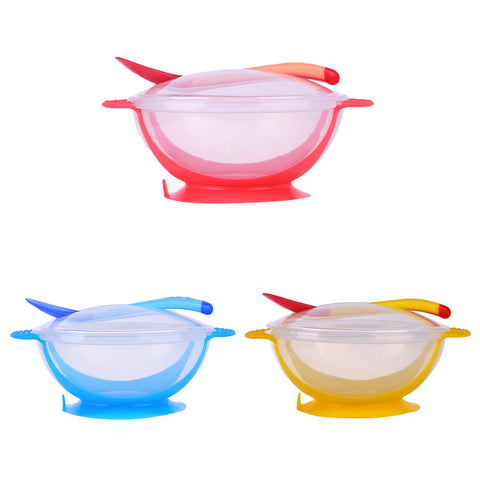 3Pcs Baby Bowl Dishes with Suction Cup Assist Food Bowl Temperature Sensing Spoon Kids Feeding Accessories Baby Tableware