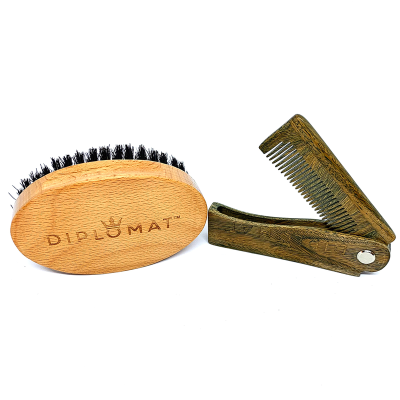 Gentleman's Beard Brush and Comb Set