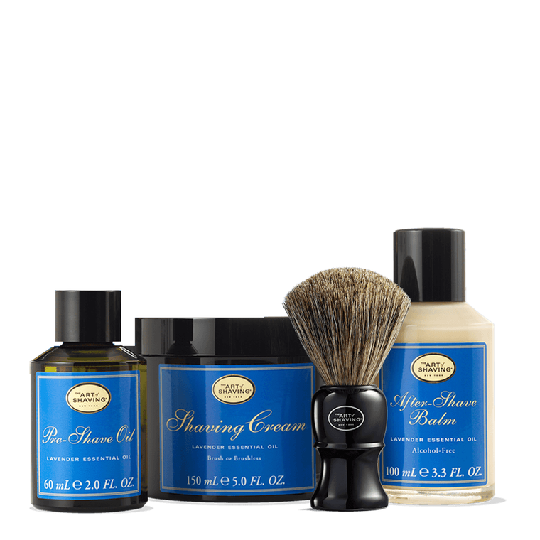 Lavender Shaving Kit With Genuine Badger Brush