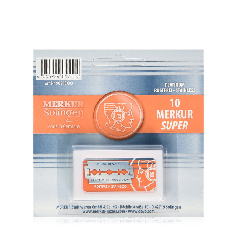 Merkur Super Platinum Double Edge Safety Razor Blades (10 Blades/Pack)