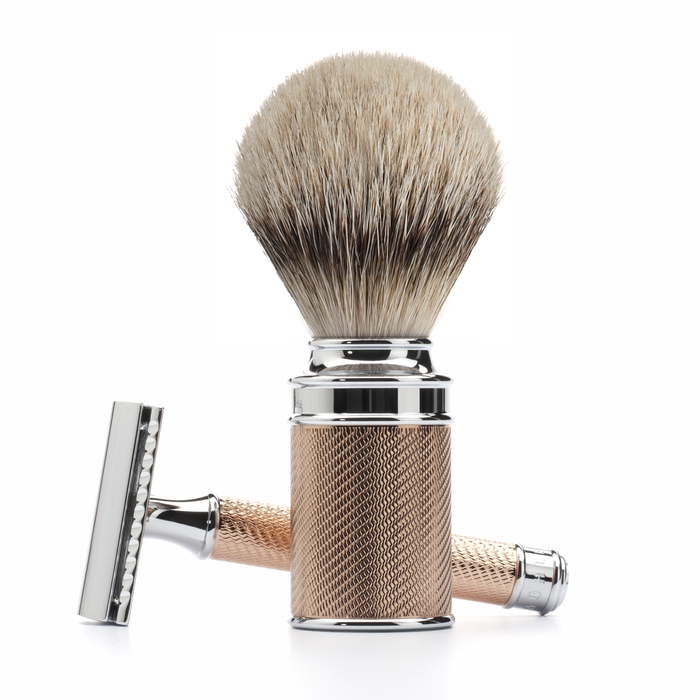 Rose Gold Safety Razor Set with Silvertip Badger Brush