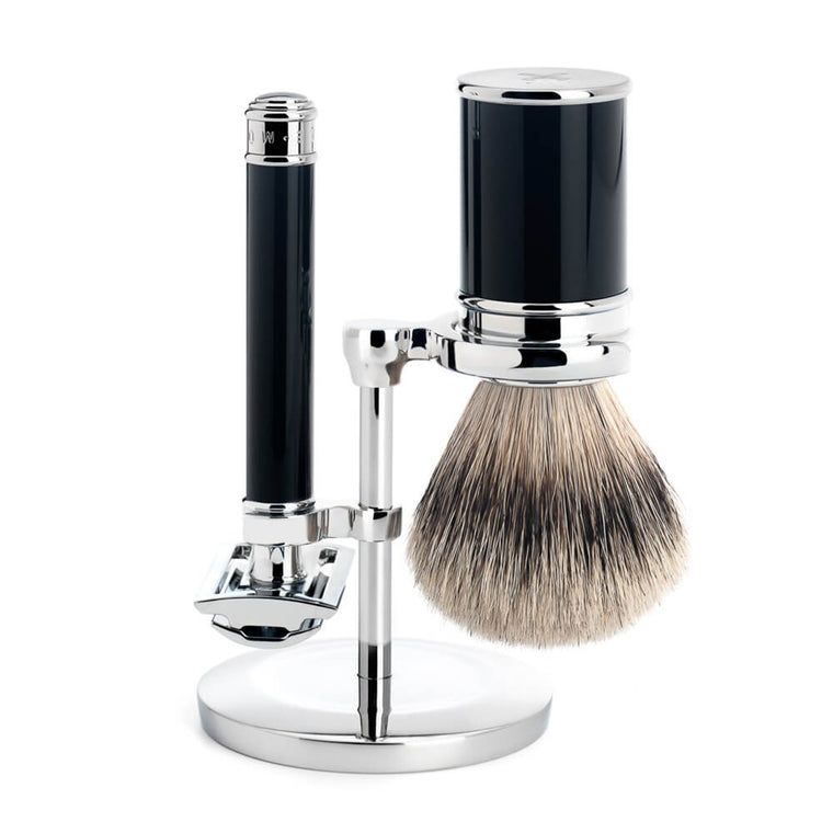 Black Safety Razor Set with Silvertip Badger Brush
