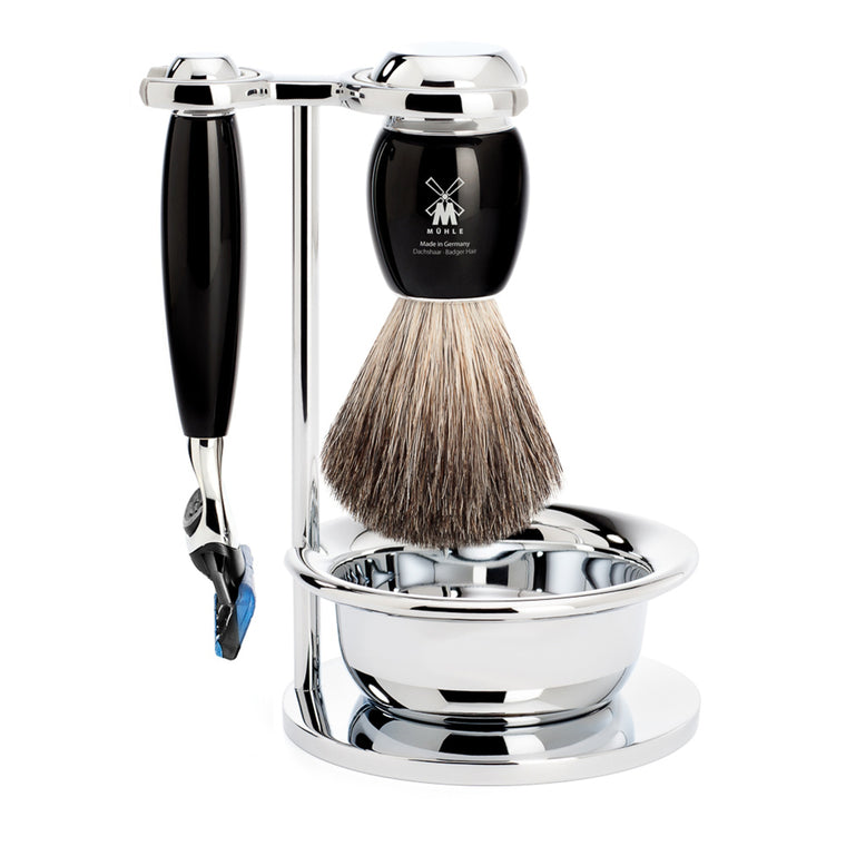 5 Blade Razor Set – Shaving Brush and Bowl – Black