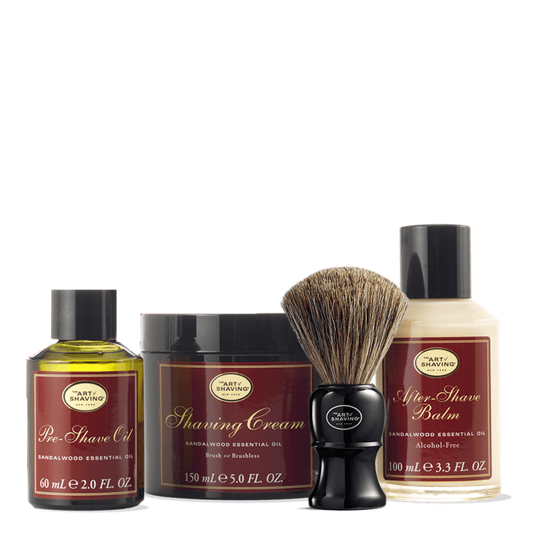 Sandalwood Shaving Kit With Genuine Badger Brush
