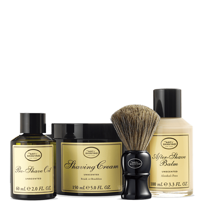 Unscented Shaving Kit With Genuine Badger Brush