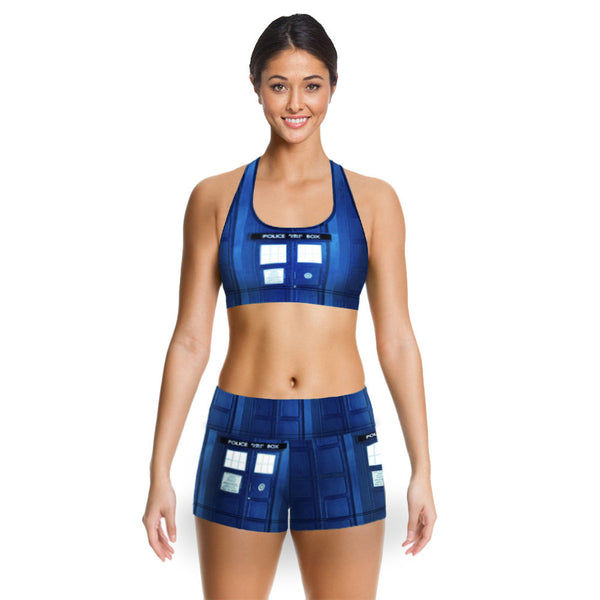 Police Box (crop top + shorts) 2Pc