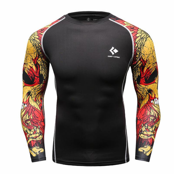 Muscle Men MMA Rashguard Compression Tight Skin Long Sleeves Shirt