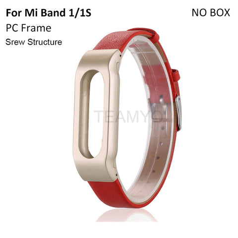Leather Strap Metal Fram Mi Band Replacement Bracelet