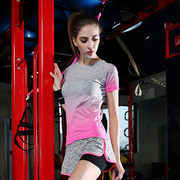 Gradient Color Sports Running Tshirt