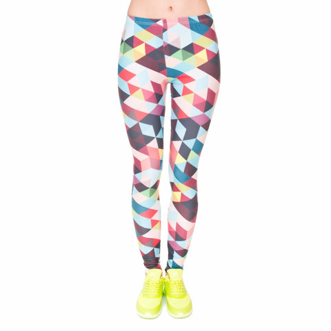 3D Random Stripes and Color Leggings