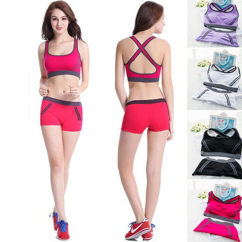 2 Piece Women's Fitness Set (Sports Bra+Shorts)