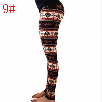 Christmas Snowflake Deer Pattern Leggings