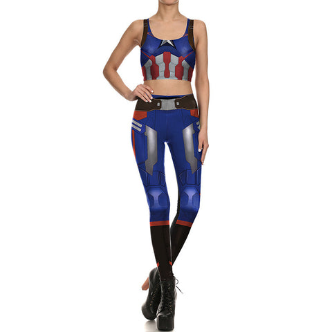 Captain America Inspired Fitness Set (Crop Top+Leggings) 2Pcs