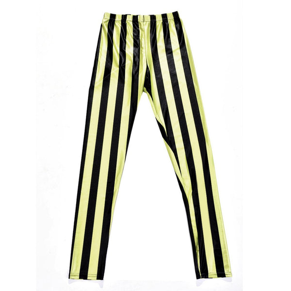 Black and Yellow Zebra Stripped Leggings