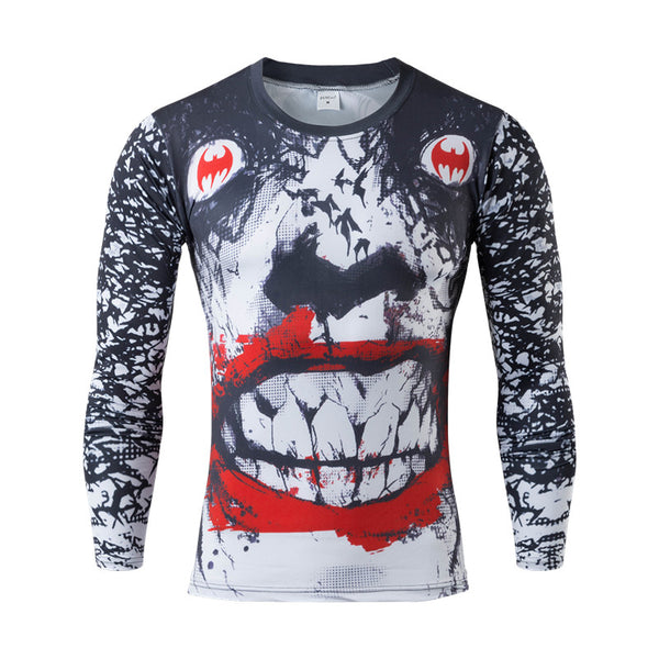 Men Crossfit Marvel Superhero Long Sleeve Compression Shirt