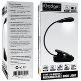 iGADGET® IG6LEDSGLBLK-UK 6 SMD LED Rechargeable Dimmable Flexible Book Light with inbuilt 1000mAh Lithium battery - Black [Energy Class A++]