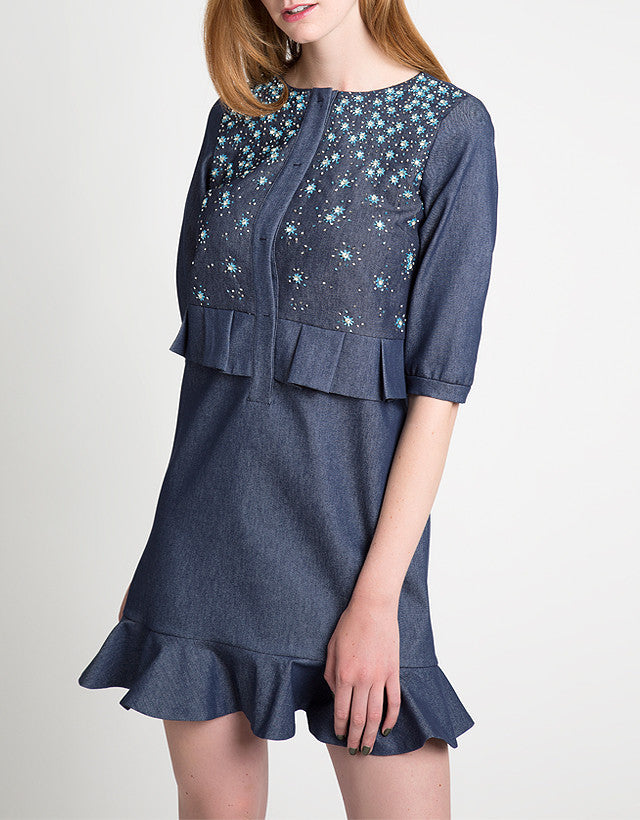 Embellished Denim Fluted Dress