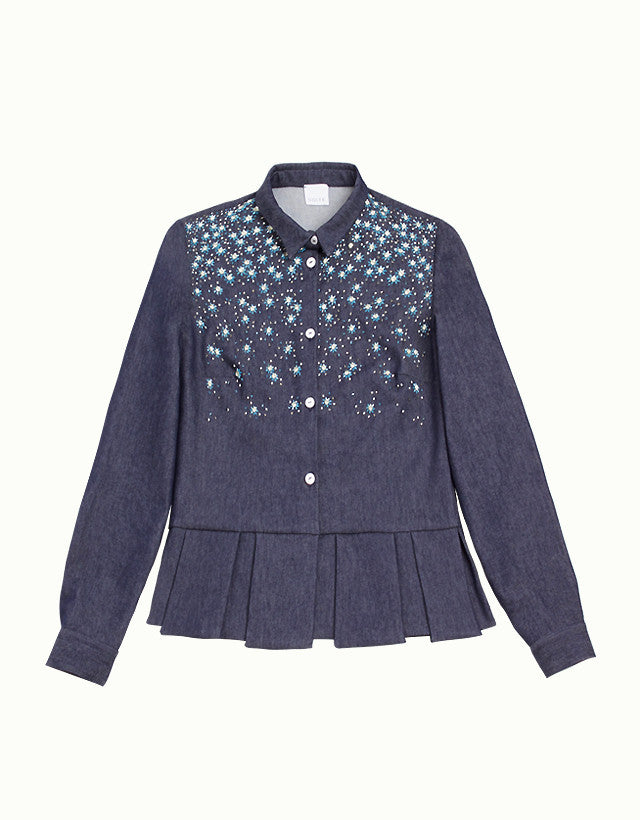 Embellished Denim Ruffled Shirt