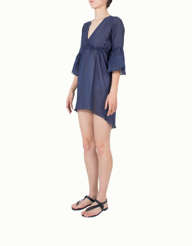 Cotton V-neck Beach Cover-Up