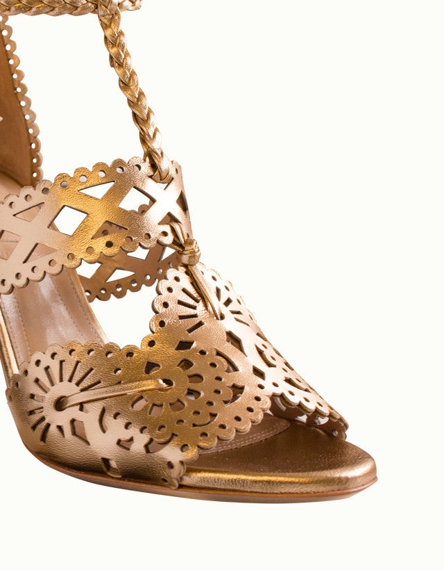 Metallic Perforated Lace-up Sandals