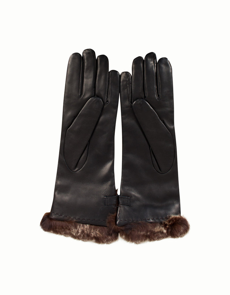 Rabbit Fur & Lamb Leather Gloves