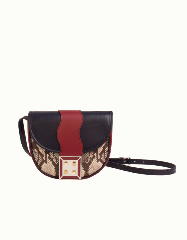 Python-Effect Leather Mini Shoulder Bag