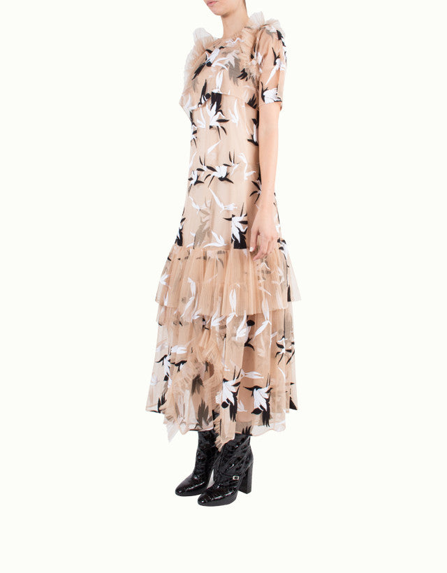 Bird Embroidered Mesh Dress