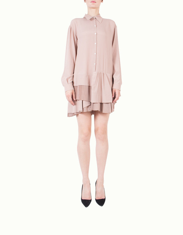 Pleated Silk-blend Shirt Dress