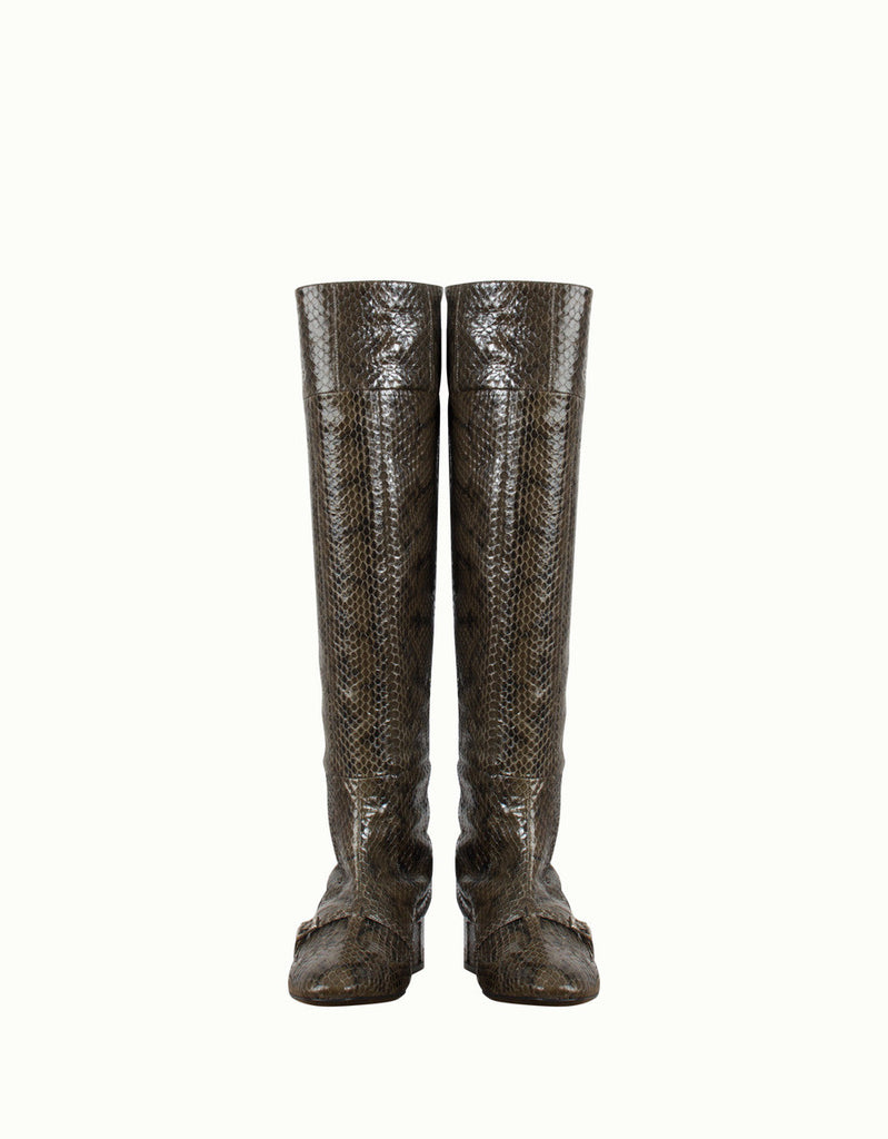 Snake-Effect Embossed Leather Knee Boots