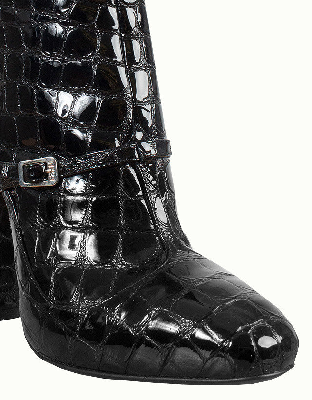 Croc-Effect Embossed Patent Leather Ankle Boots