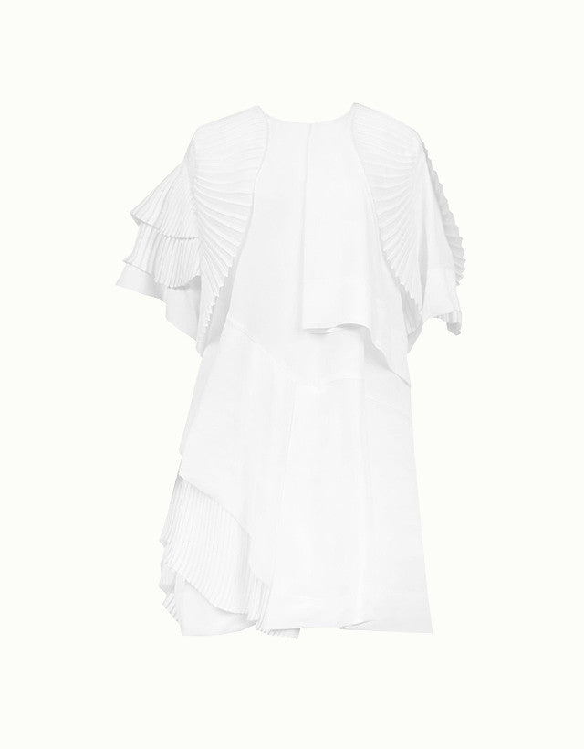 Pleated Asymmetrical Silk-blend Top