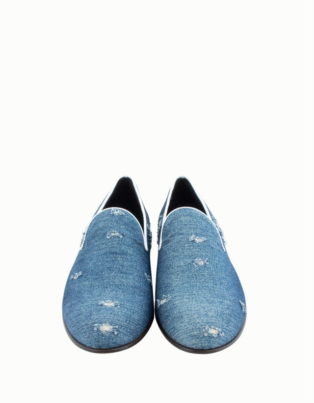 Positano Distressed Denim Slippers