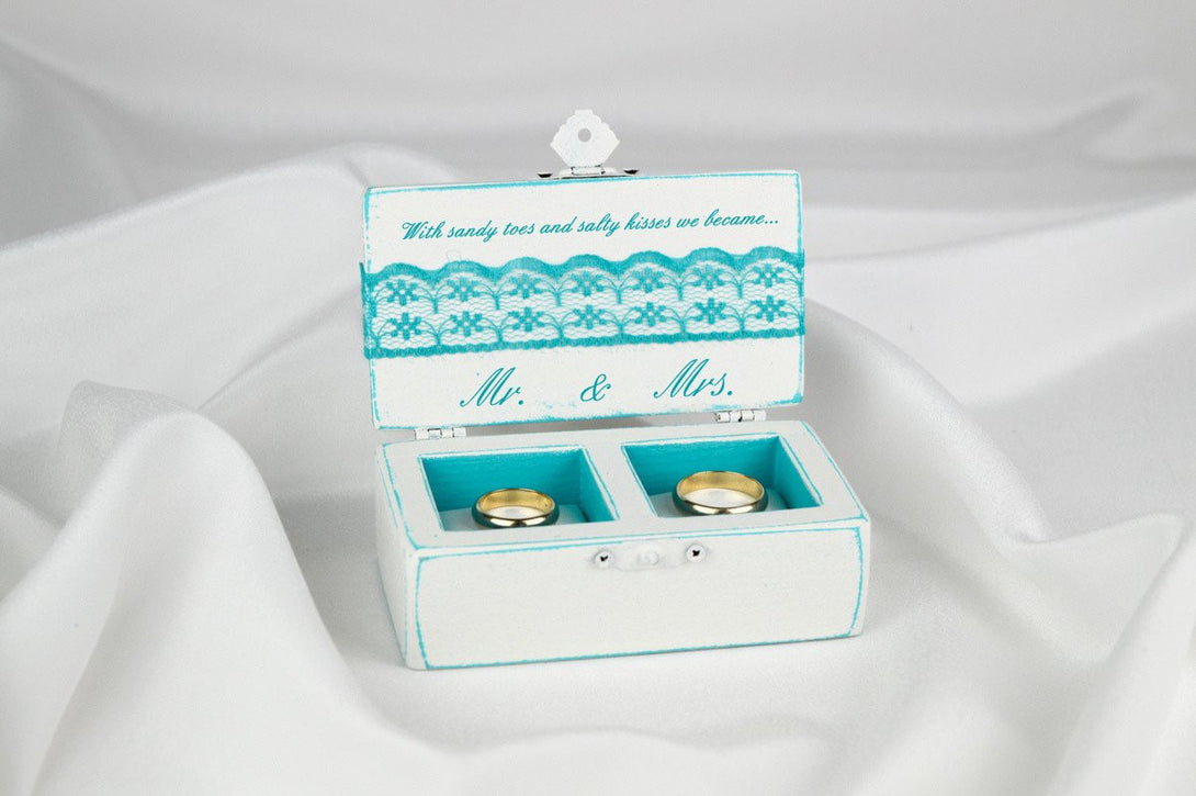 Beach Wedding Ring Box, Personalized Turquoise and White Ring Box ...