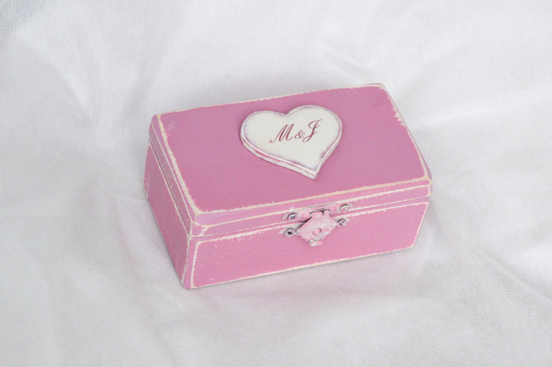 Wedding Ring Box, Ring Bearer Box, Ring Box in Vintage Pink and ...