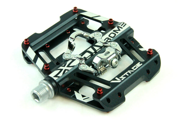 DaBomb V STAGE MTB Pedal Set - Double Side Design for Clip-In and Flat - Black