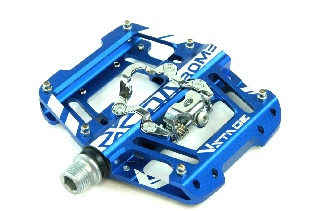 DaBomb V STAGE MTB Pedal Set - Double Side Design for Clip-In and Flat - Blue