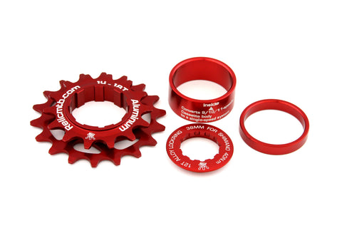 Relic Single Speed Conversion Kit 14T / 18T for Shimano 9, 10, 11 Speed - Red