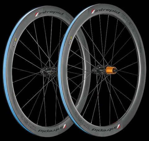 Intrepid Handcrafted Carbon Fiber Road Bike Wheelset 700c 50mm Depth Disc Brake