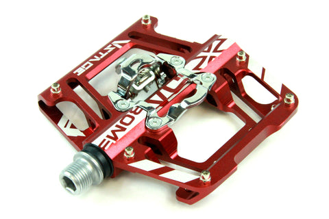 DaBomb V STAGE MTB Pedal Set - Double Side Design for Clip-In and Flat - Red